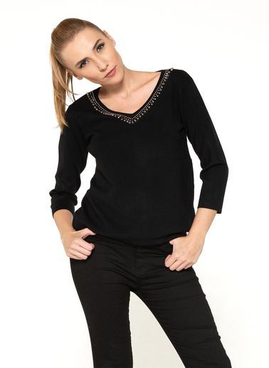 Optique Knitwear Taş Baskılı V Yaka Uzun Kol Triko Kazak Siyah